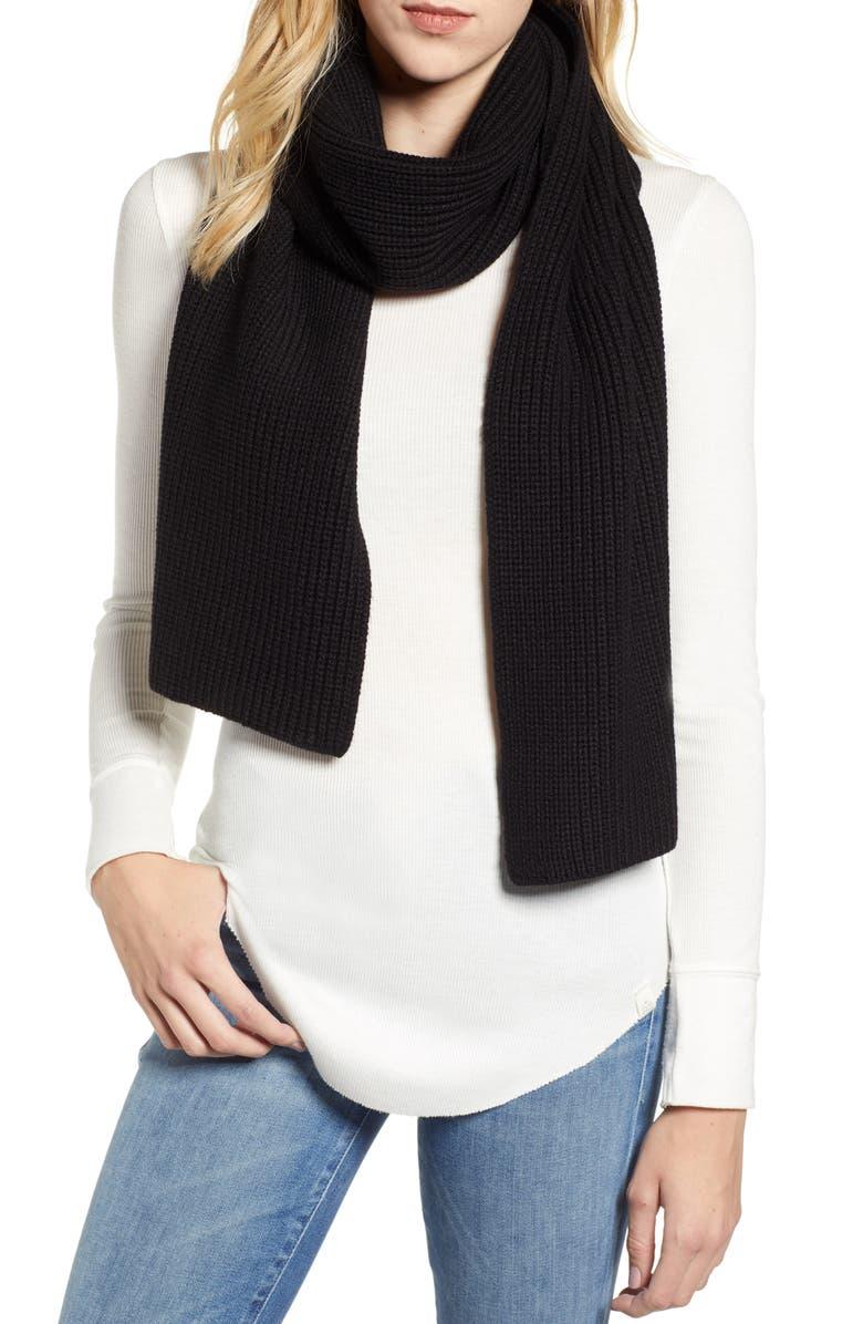 ALLSAINTS Half Cardigan Scarf, Main, color, BLACK