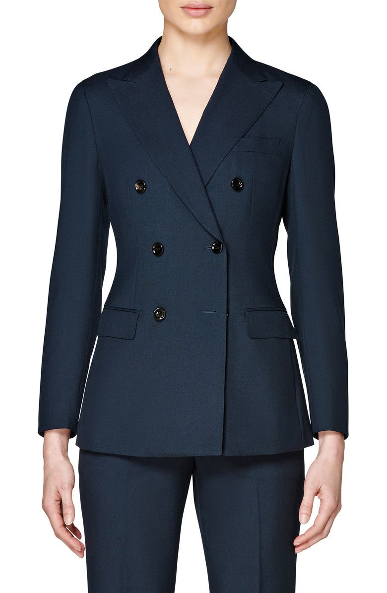 SUISTUDIO Cameron Double Breasted Wool & Mohair Suit Jacket, Main, color, NAVY