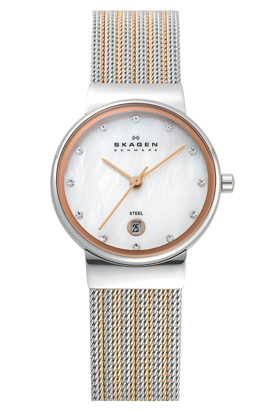 ,                             'Ancher' Round Two-Tone Mesh Watch, 26mm x 32mm,                             Main thumbnail 4, color,                             711