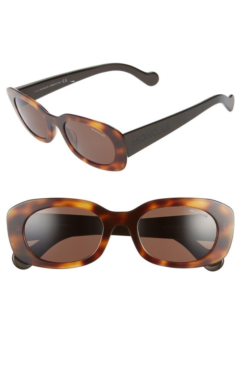 MONCLER 52mm Oval Sunglasses, Main, color, DARK HAVANA/ BROWN