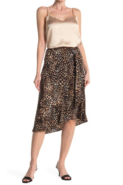 Image of Laundry By Shelli Segal Printed D-Ring Pull-On Midi Skirt