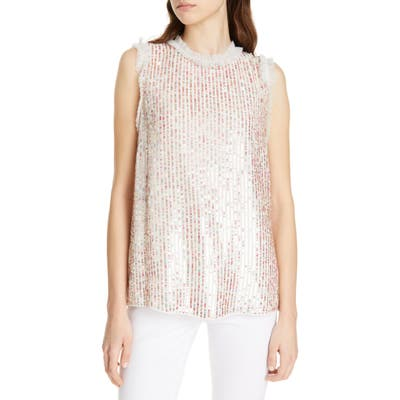 Needle & Thread Shimmer Vest Top, Ivory