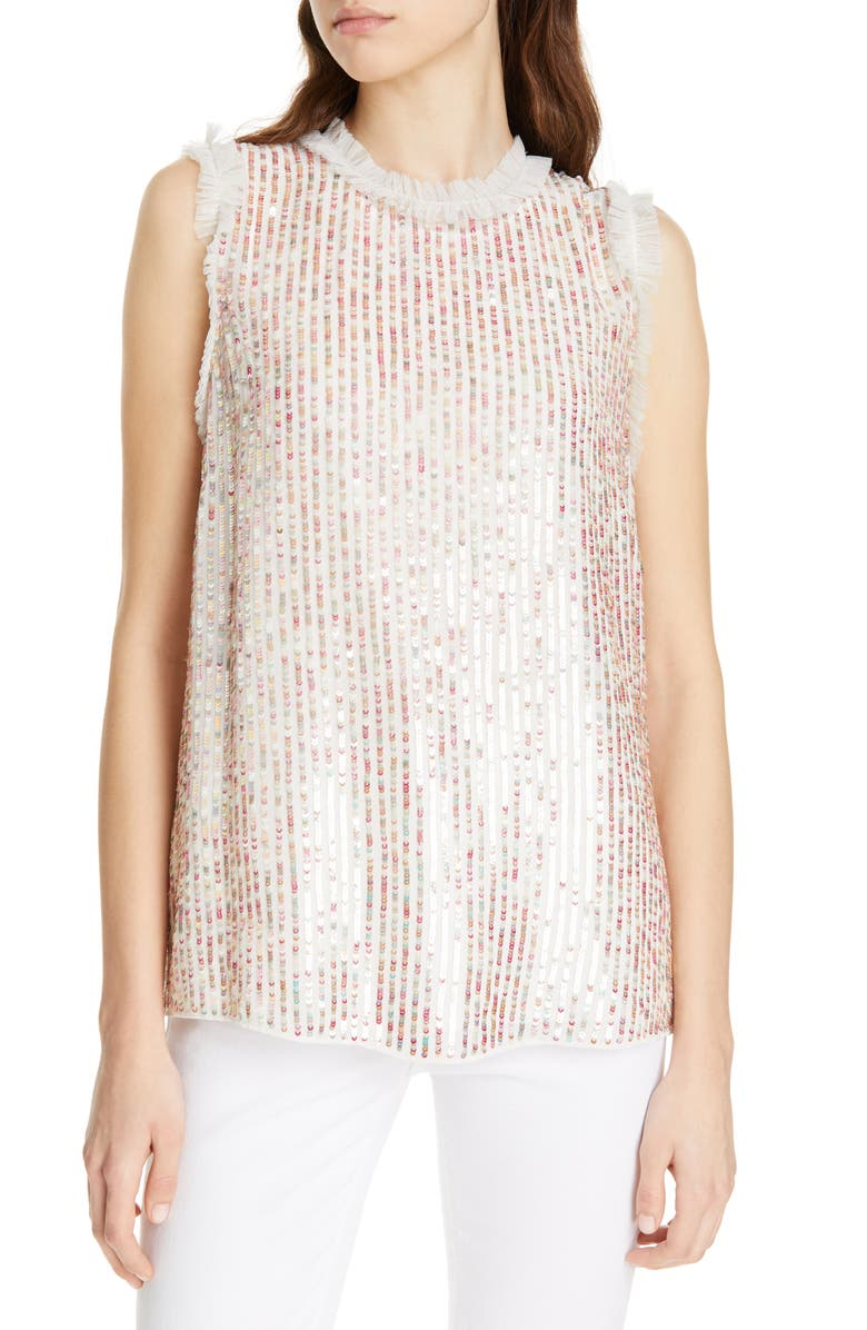 NEEDLE & THREAD Shimmer Vest Top, Main, color, 900