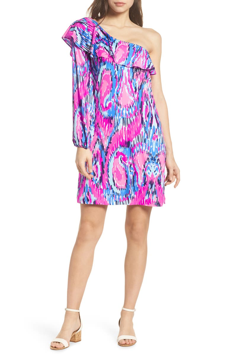 LILLY PULITZER<SUP>®</SUP> Amante One-Shoulder Silk Dress, Main, color, MULTI FREE SPIRIT