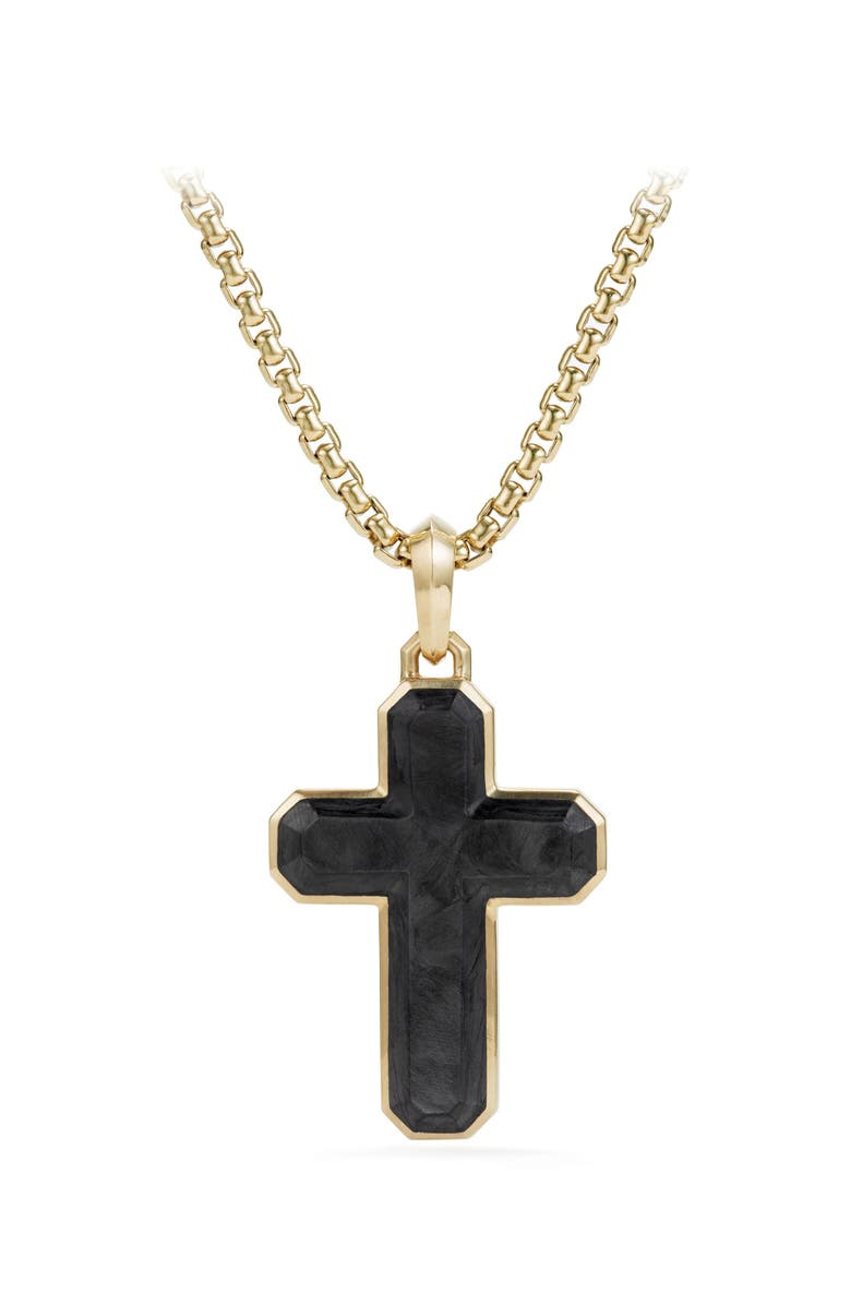 DAVID YURMAN Forged Carbon Cross Tag with 18K Gold, Main, color, FORGED CARBON