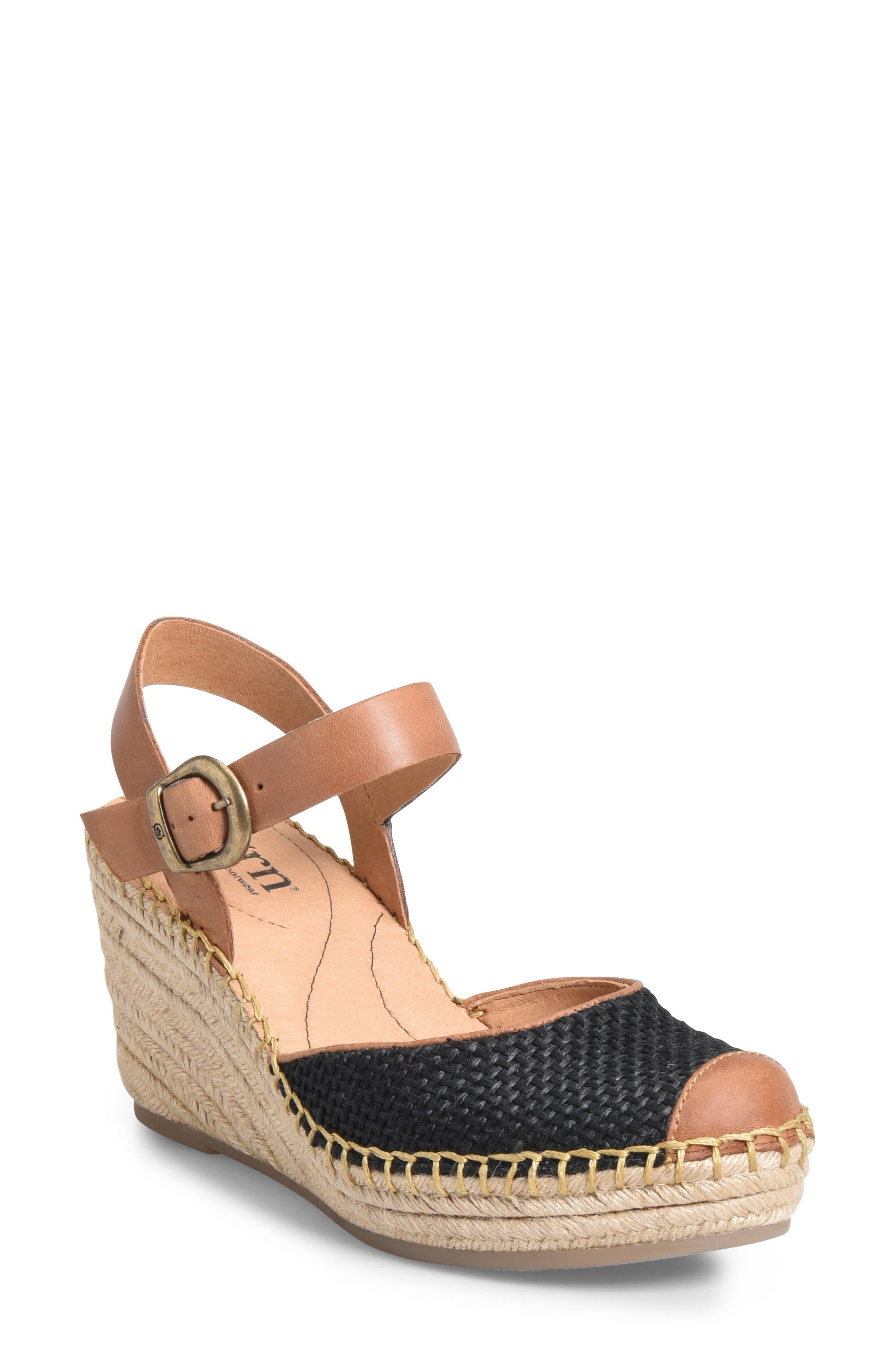 ,                             Guadalupe Wedge Sandal,                             Main thumbnail 1, color,                             BLACK/ RUST FABRIC