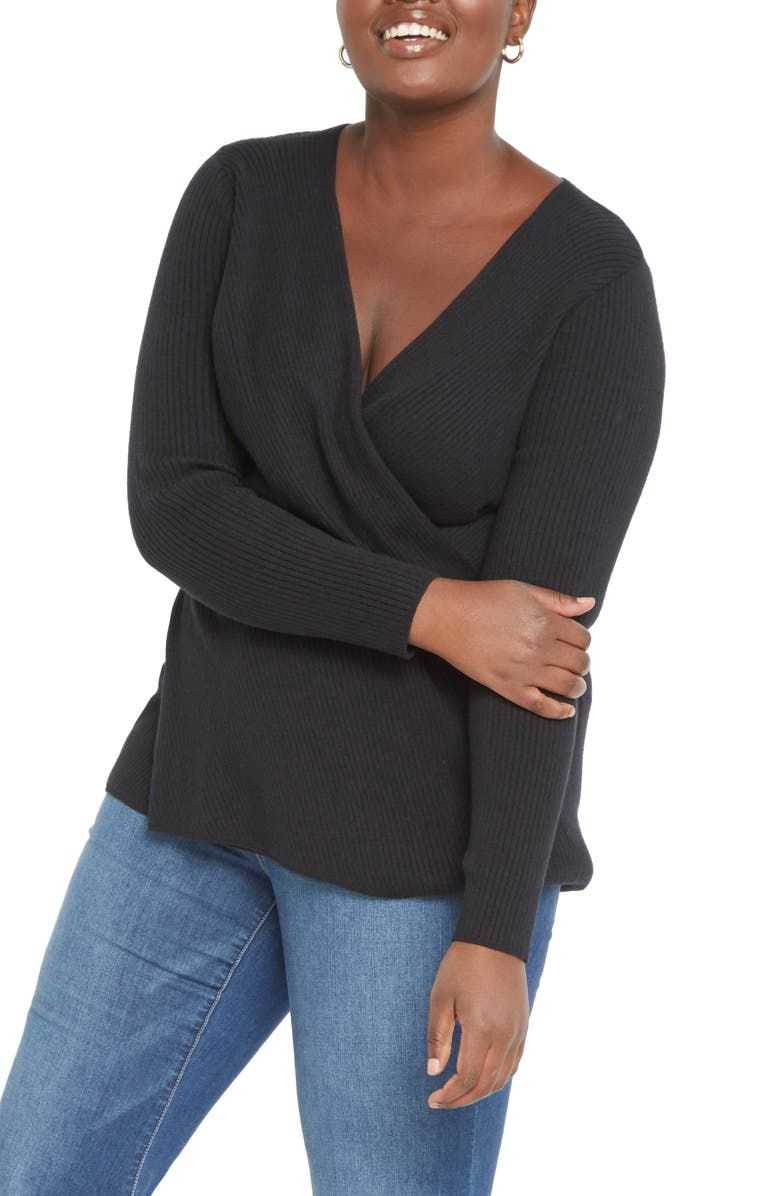 ELOQUII Ribbed Cross Front Sweater, Main, color, TOTALLY BLACK