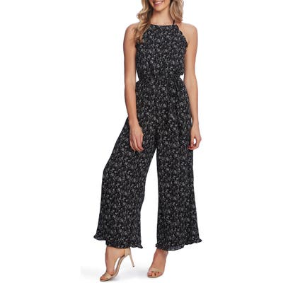 Cece Floral Halter Neck Wide Leg Jumpsuit, Black
