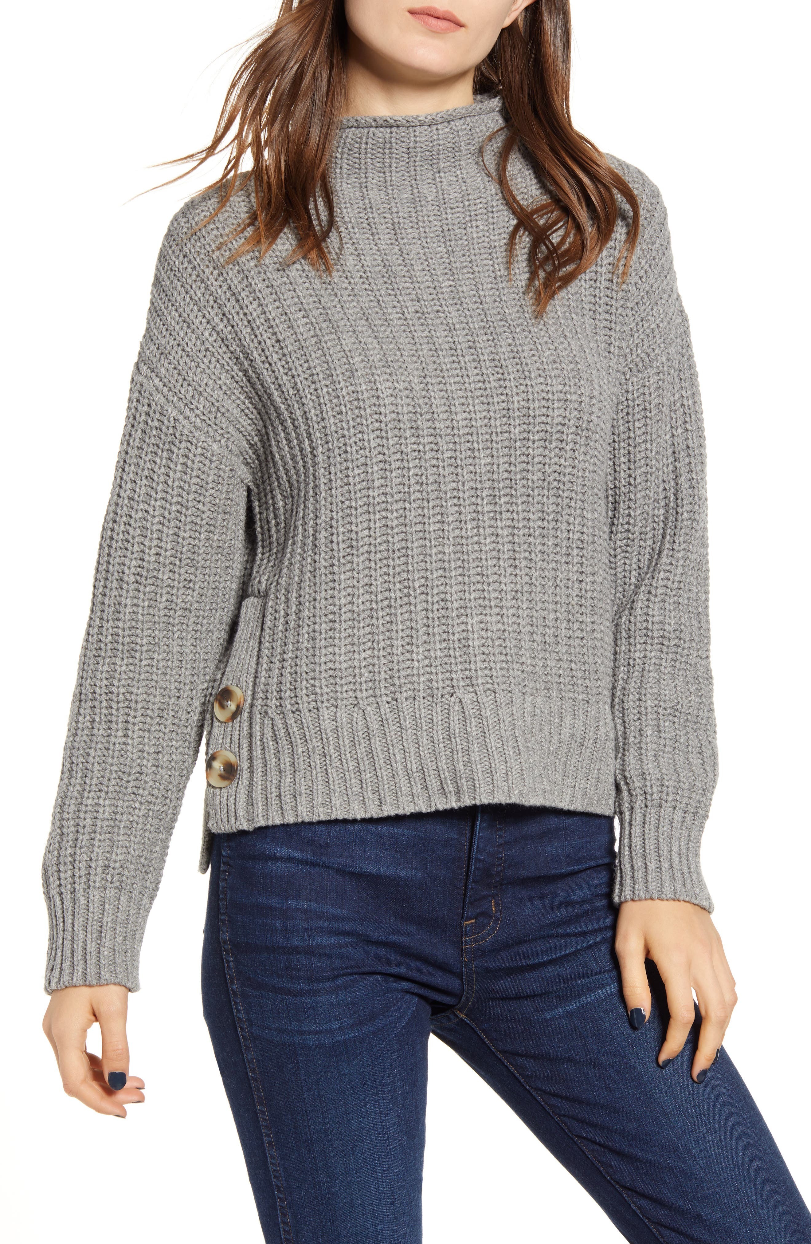Madewell Mock Neck Side-Button Pullover Sweater (Regular & Plus Size)