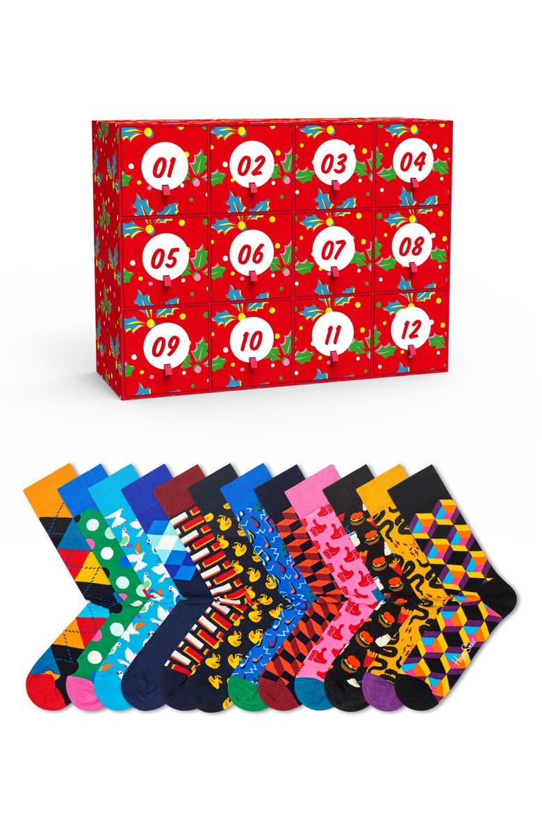 HAPPY SOCKS 12 Days Of Christmas Gift Box 12-Pack Socks, Main, color, BLACK COMBO
