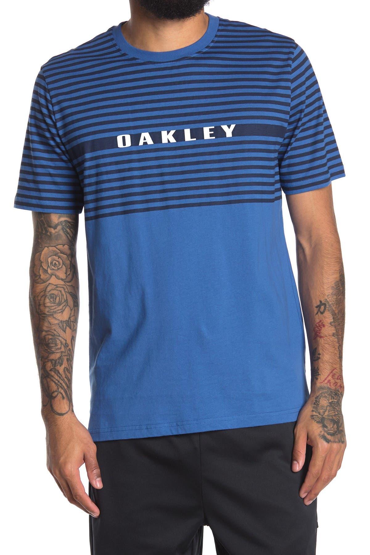 Image of Oakley Logo Colorblocked Stripe T-Shirt