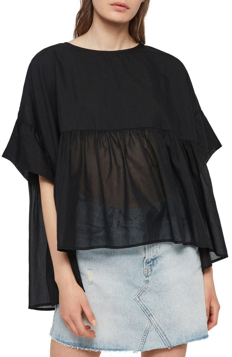 ALLSAINTS Karen Swing Top, Main, color, BLACK