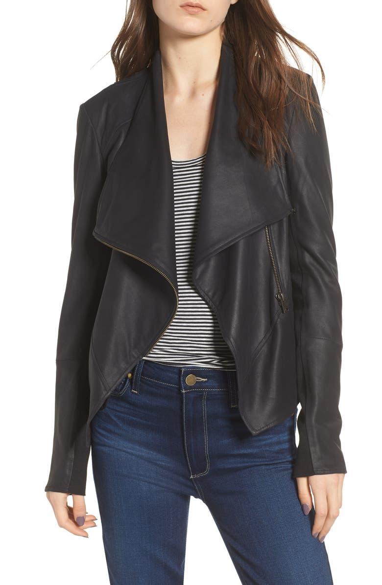 LAMARQUE Asymmetrical Zip Front Leather Cascade Jacket, Main, color, 001
