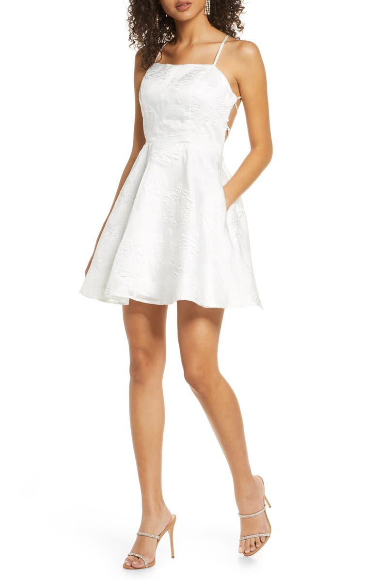 SEQUIN HEARTS Floral Brocade Strappy Minidress, Main, color, IVORY