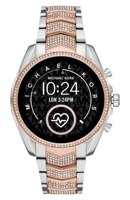 Image of MICHAEL KORS ACCESSORIES Women's Gen 5 Bradshaw Pave Two-Tone Smartwatch, 44mm