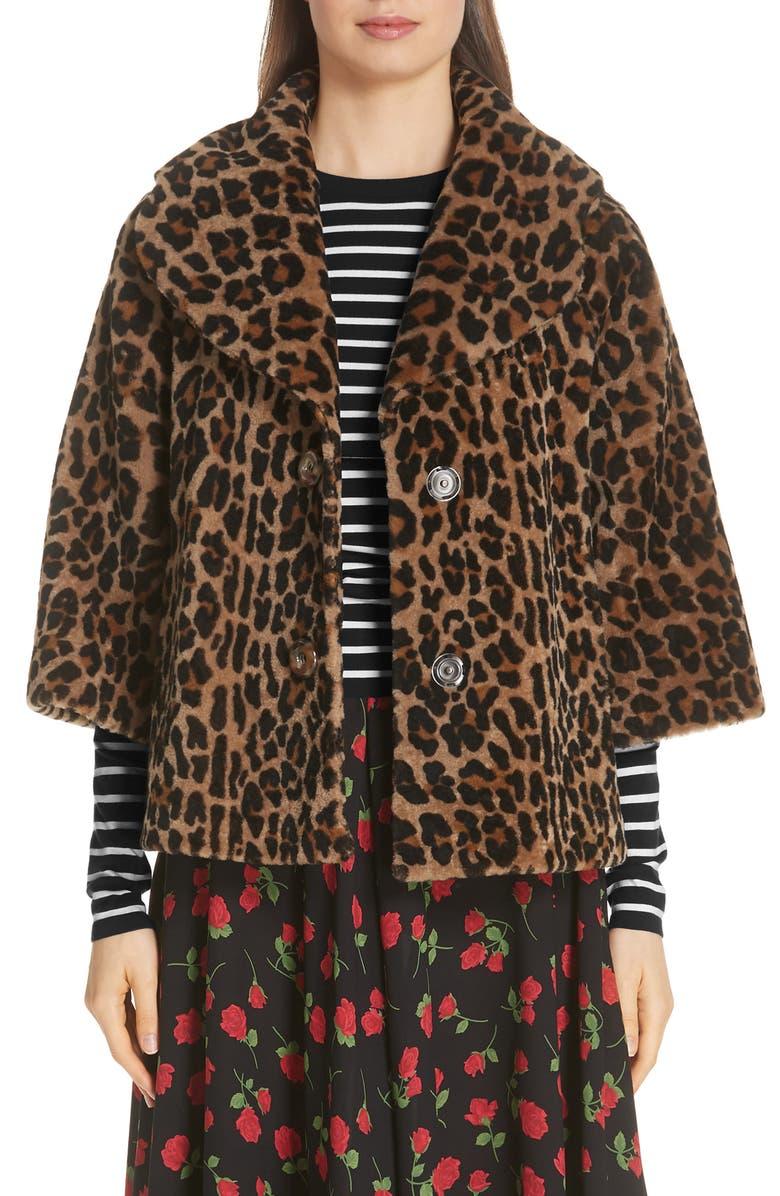 5c69294359b5 Leopard Print Crop Sleeve Genuine Shearling Coat, Main, color, 249