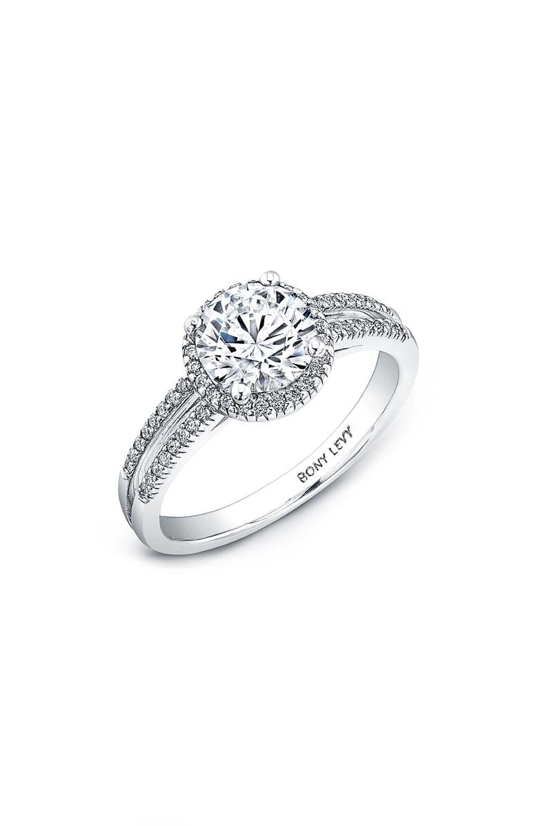 BONY LEVY Split Pavé Diamond Band Engagement Ring Setting, Main, color, WHITE GOLD