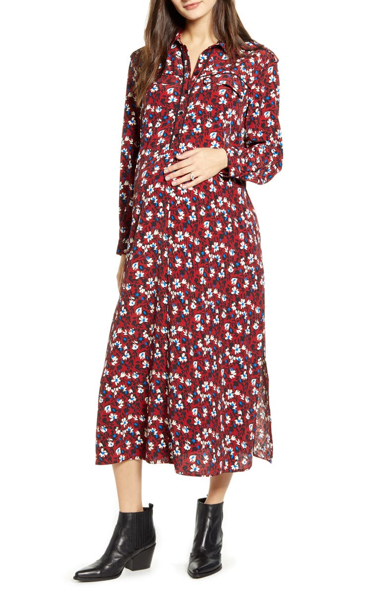 TOPSHOP Trapeze Maternity Shirtdress, Main, color, 930