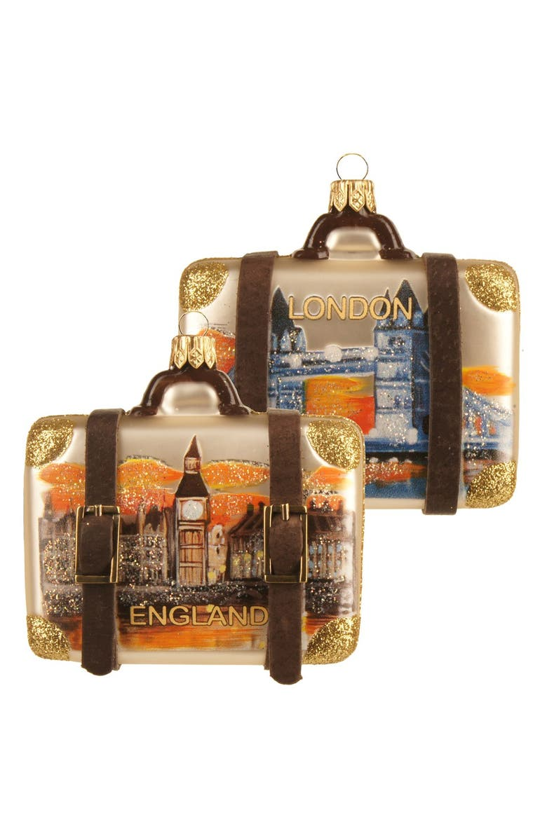 NORDSTROM at Home Handblown Glass Travel Suitcase Ornament, Main, color, ENGLAND