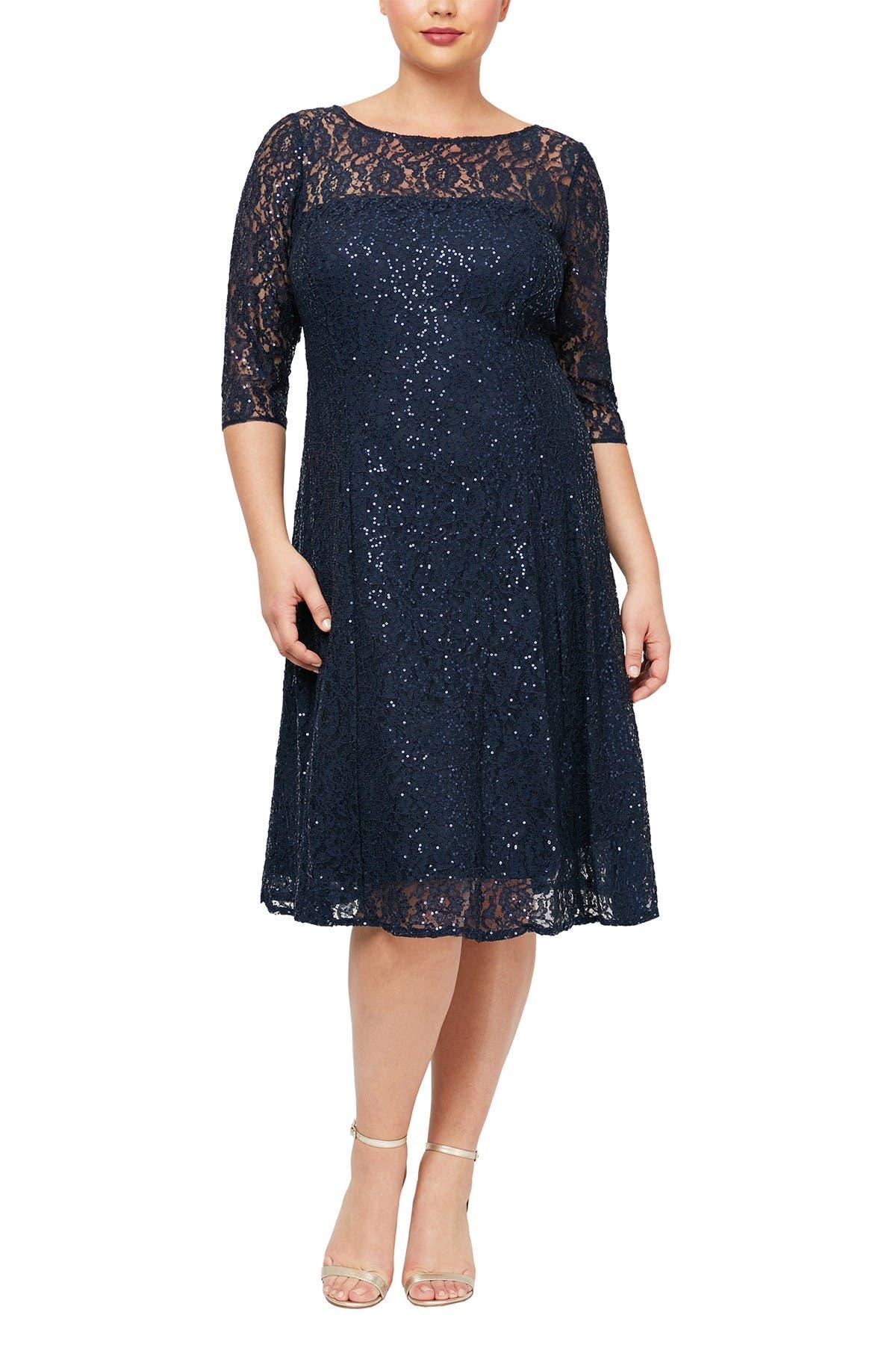 Image of SLNY Lace Yoke Glitter Dress