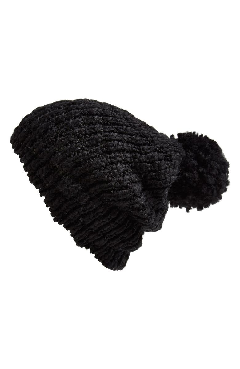 PHASE 3 Slouchy Beanie with Pom, Main, color, BLACK