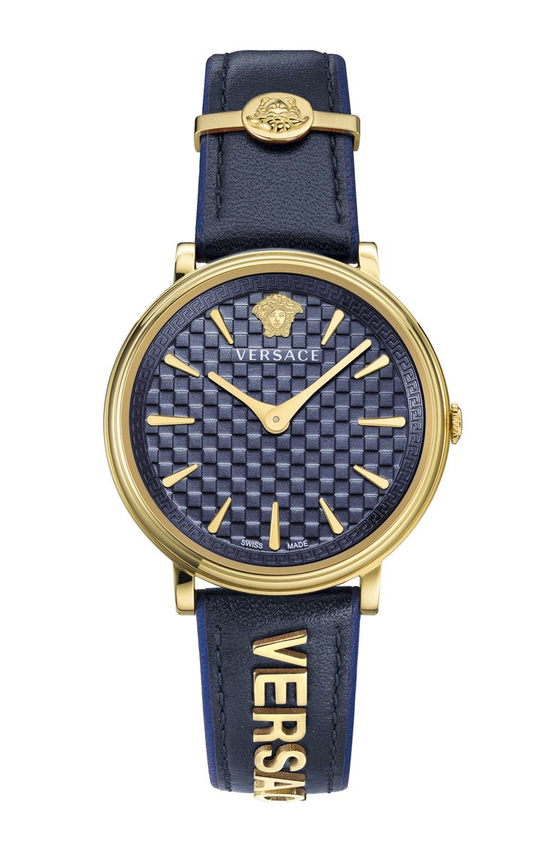 VERSACE V Circle Logo Snakeskin Leather Strap Watch, 38mm, Main, color, BLUE/ GOLD