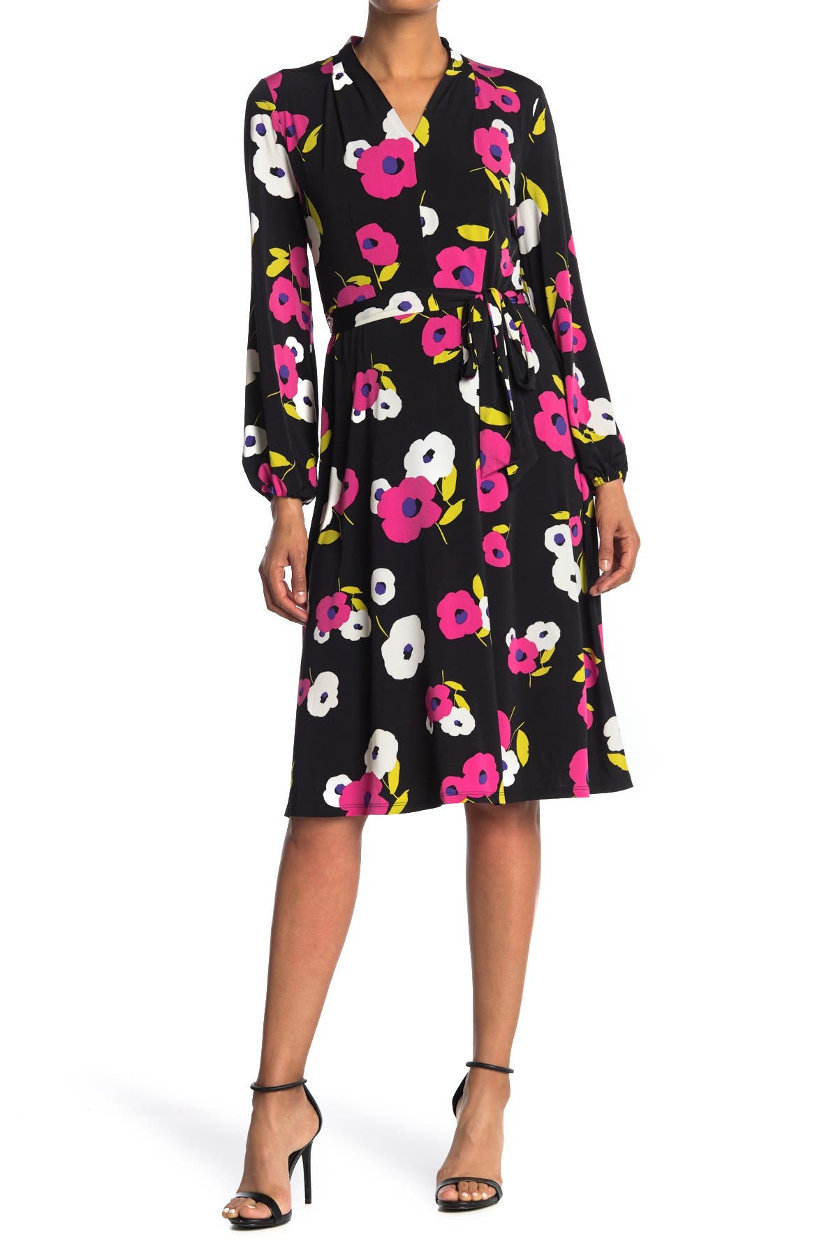 Image of London Times Floral Long Sleeve Tie Waist Dress