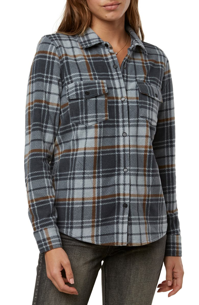 O'NEILL Zuma Plaid Fleece Shirt, Main, color, GREY
