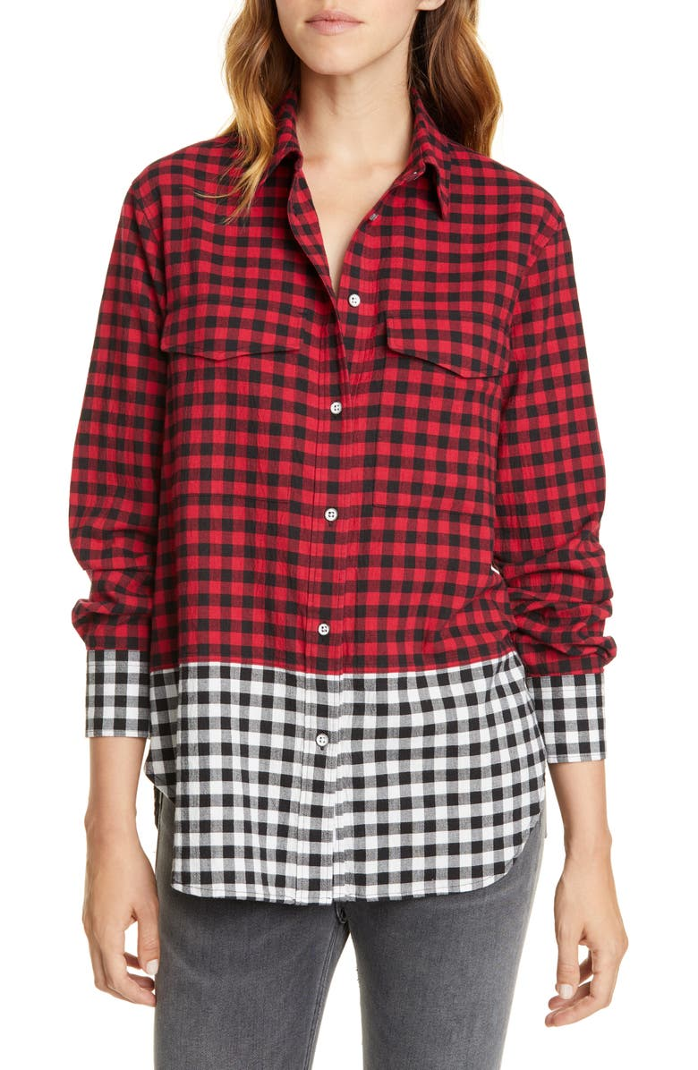 RAG & BONE Birdie Buffalo Check Print Shirt, Main, color, RED/ BLACK
