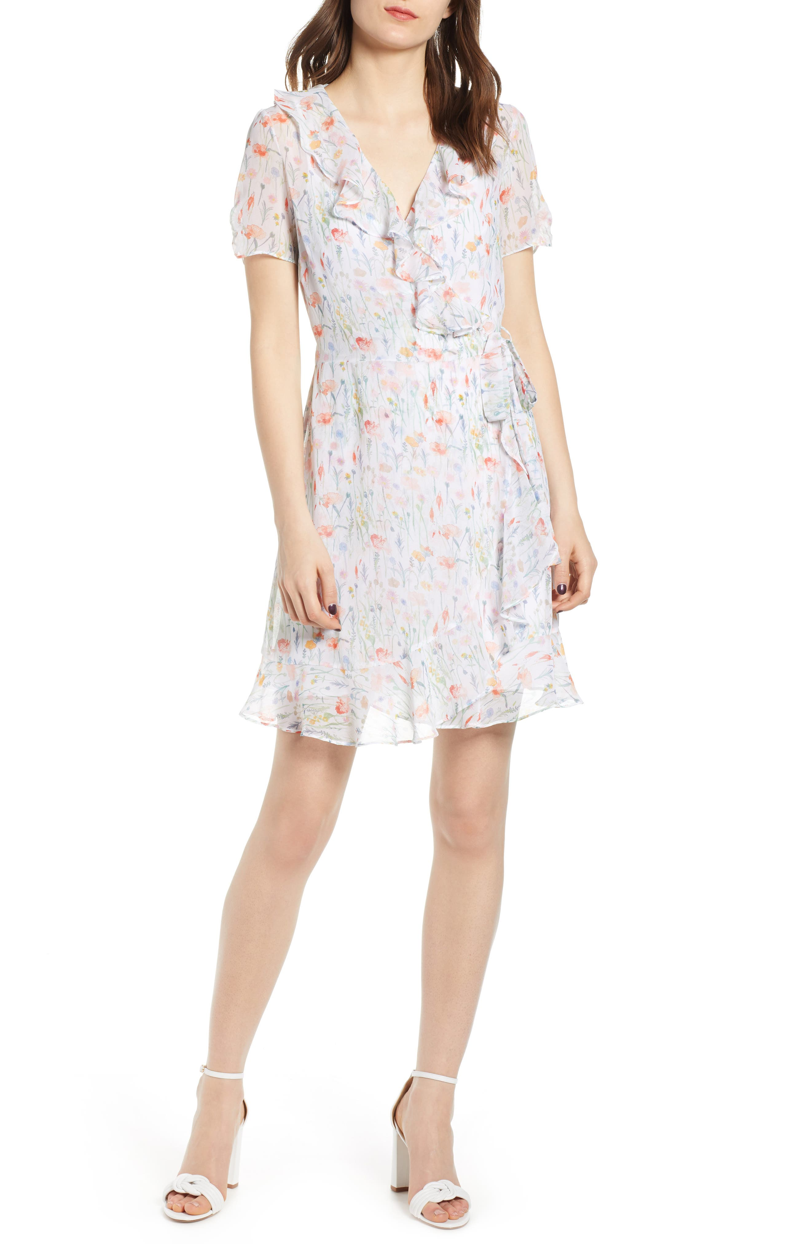 In the Clouds Floral Ruffle Wrap Dress, Main, color, WHITE MULTI