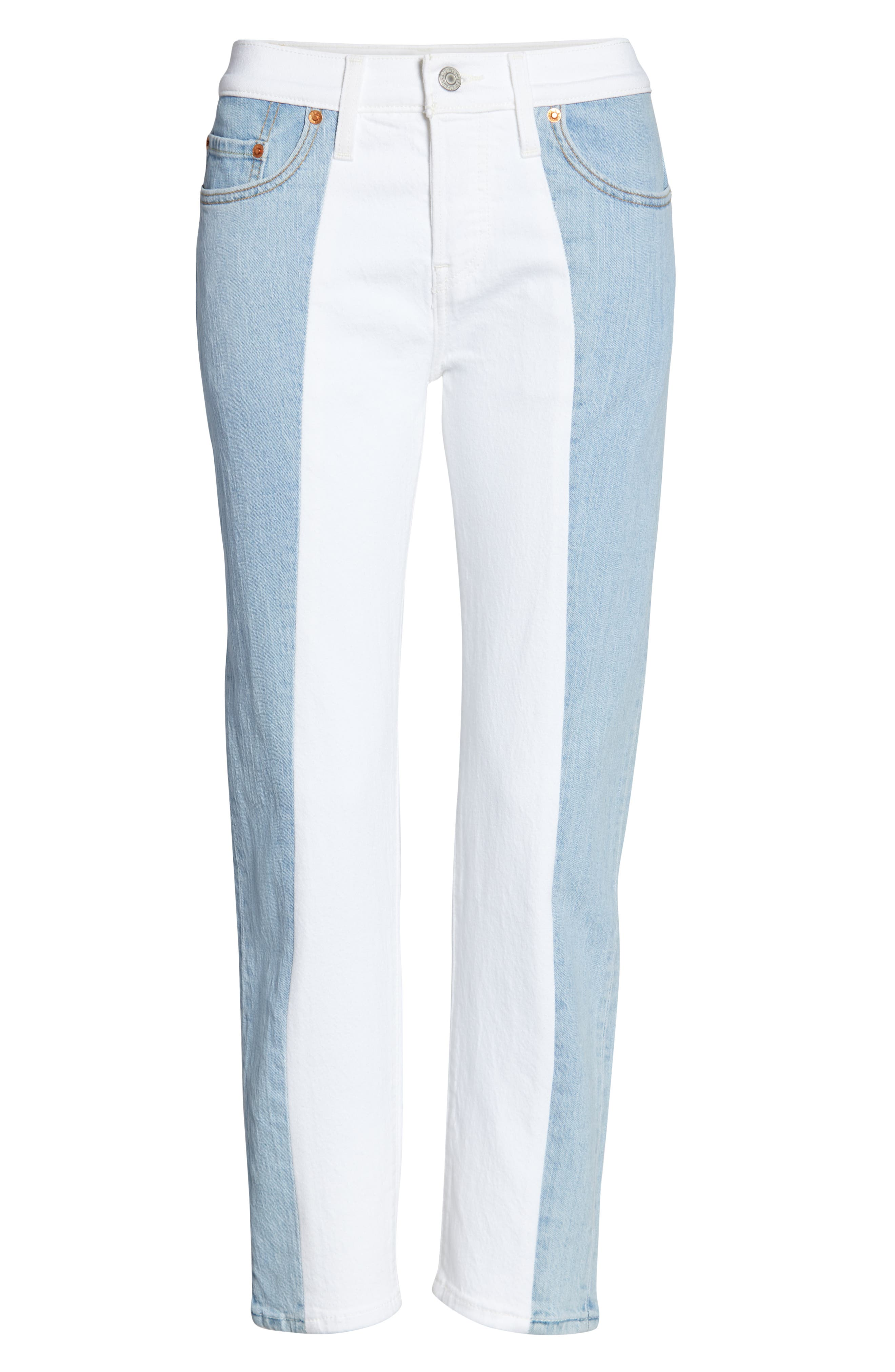 ,                             501<sup>®</sup> Colorblock High Waist Crop Jeans,                             Alternate thumbnail 5, color,                             SLICED AND DICED