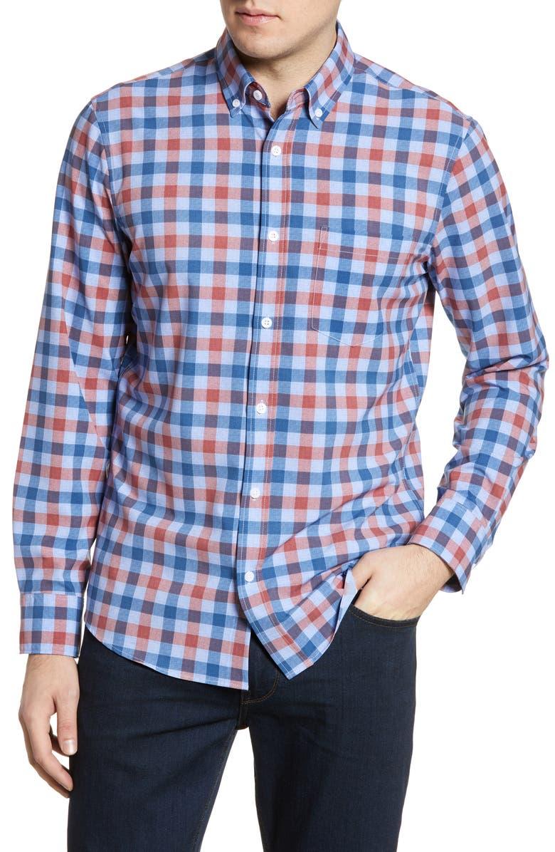 NORDSTROM MEN'S SHOP Nordstrom Mens Shop Tech-Smart Regular Fit Check Button-Down Shirt, Main, color, BLUE RED TEXTURE CHECK