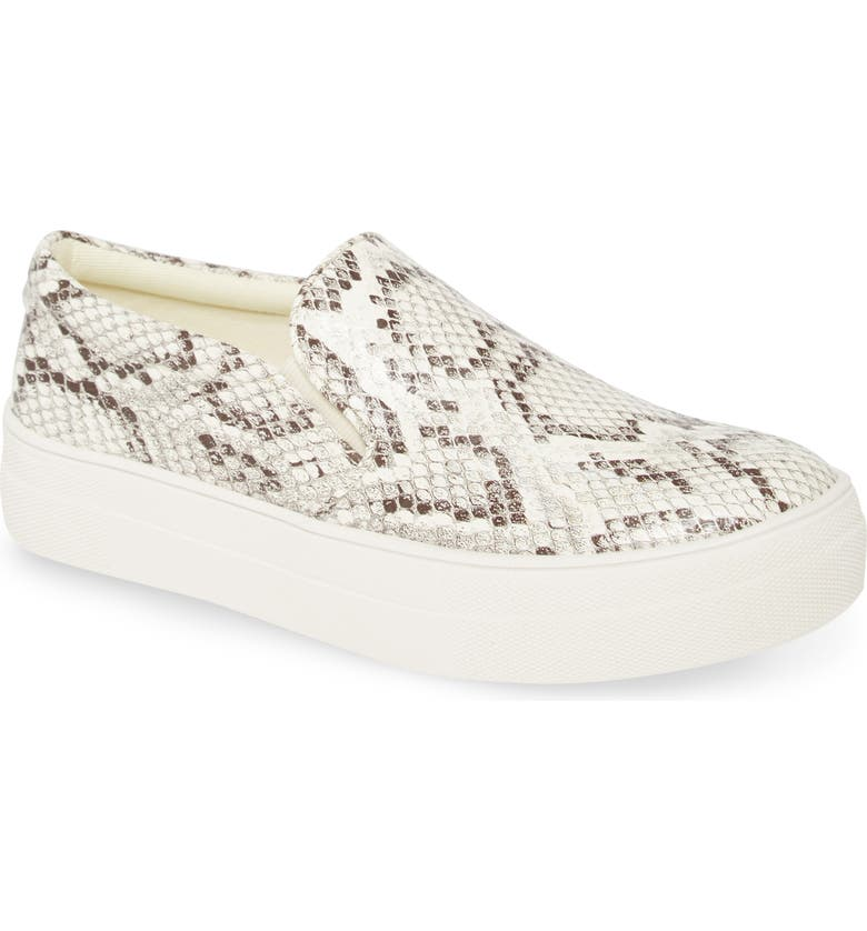 STEVE MADDEN Gills Platform Slip-On Sneaker, Main, color, BONE SNAKE