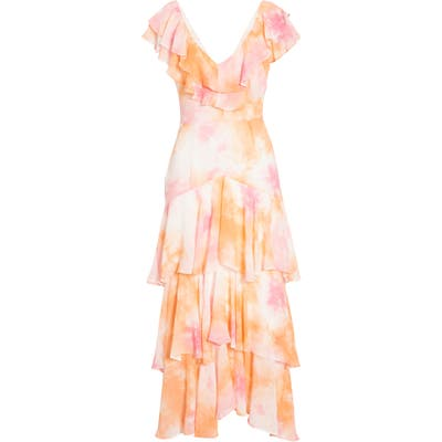 Wayf Chelsea Tiered Ruffle Maxi Dress, Orange