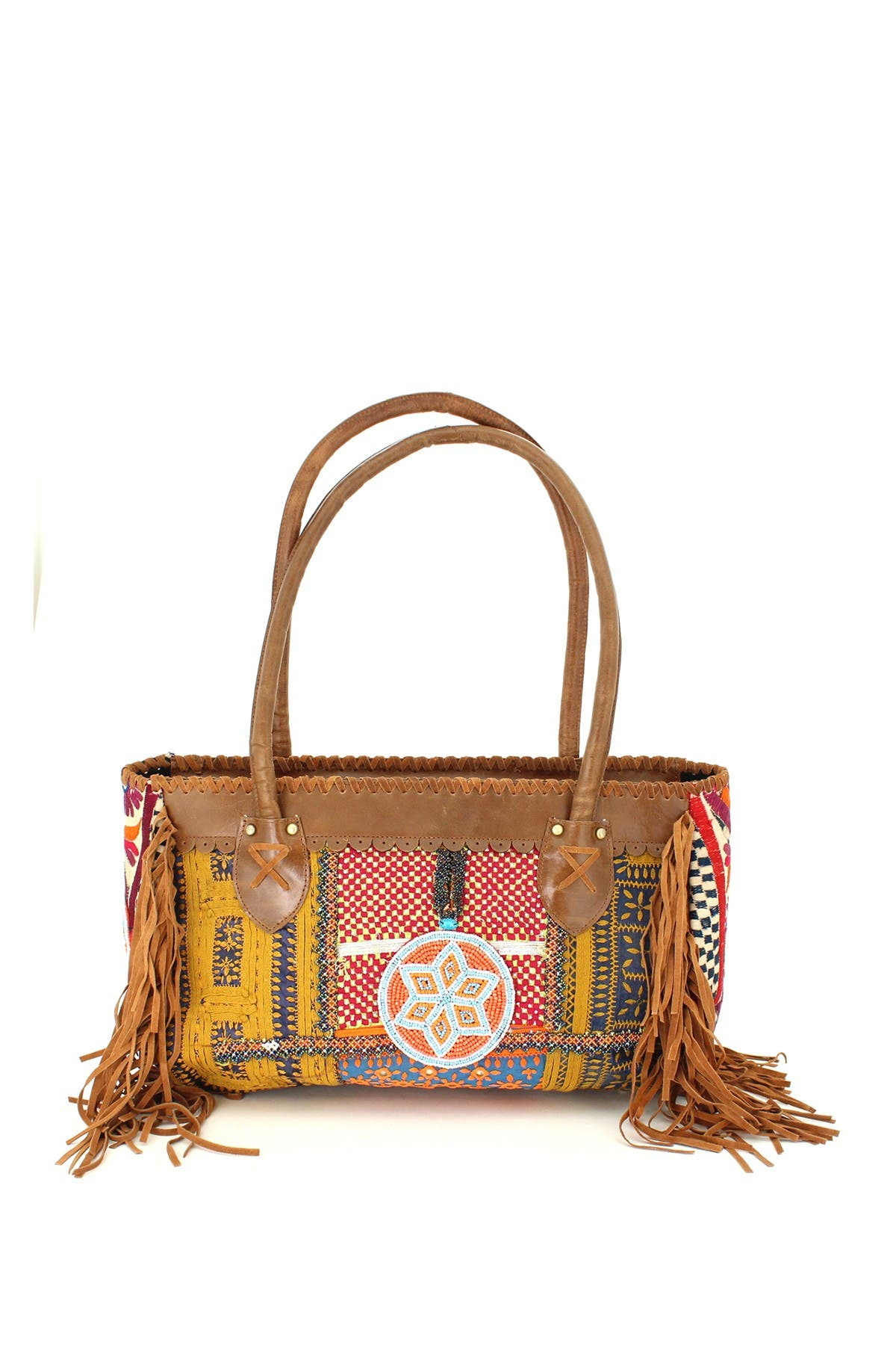 Image of Vintage Addiction Leather & Vintage Fabric Baguette Shoulder Bag
