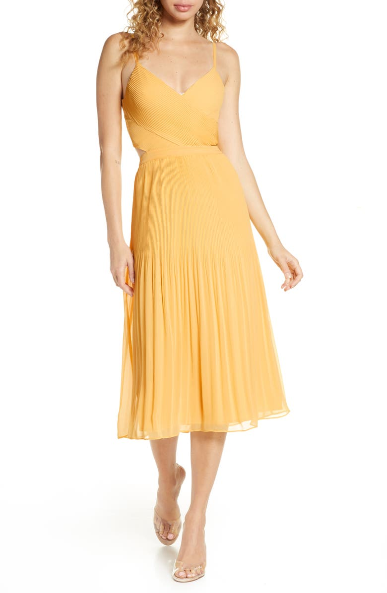 ALI & JAY For the Gram Chiffon Midi Dress, Main, color, SUNSHINE