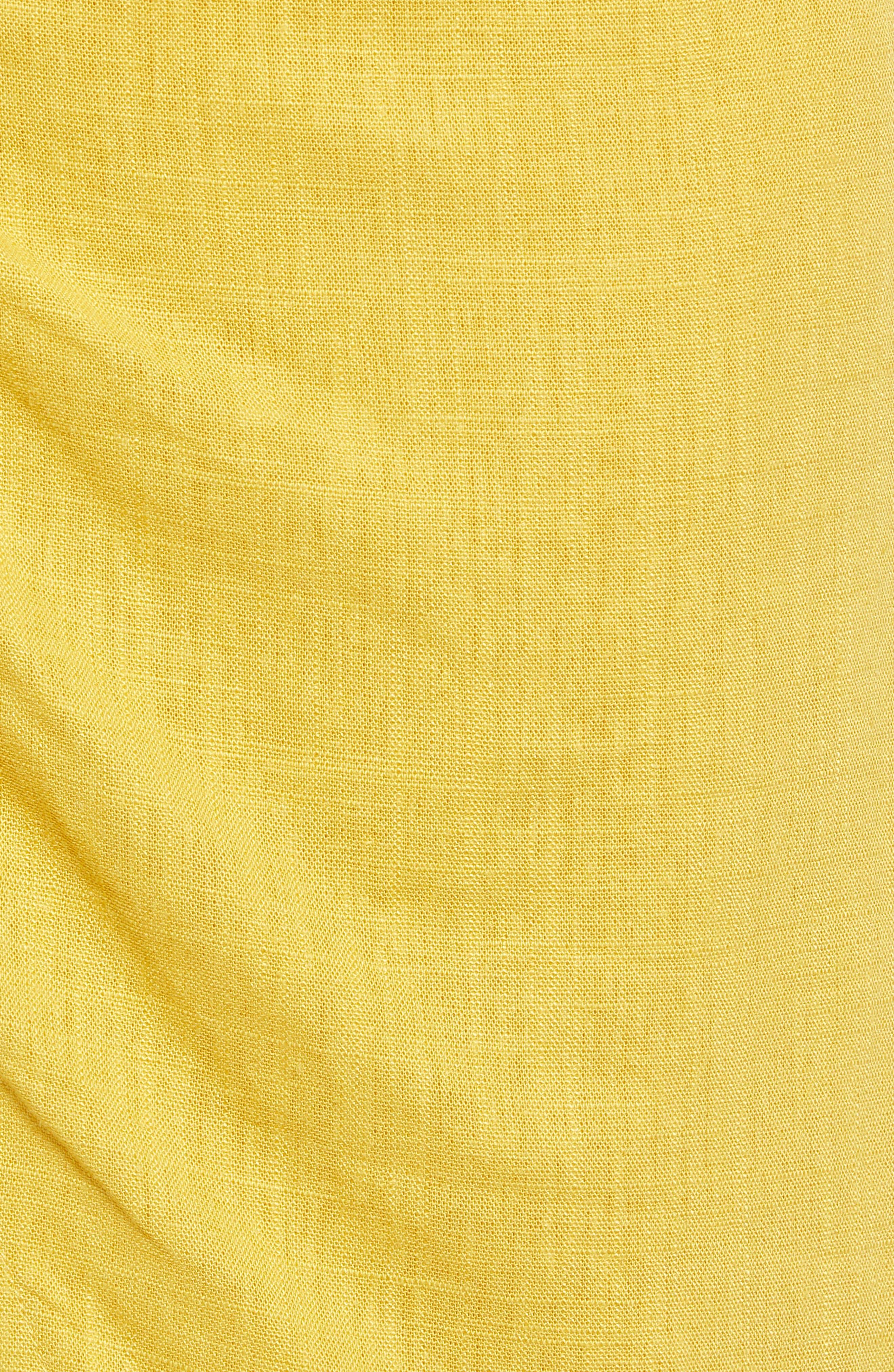 ,                             Side Button Cotton & Linen Midi Skirt,                             Alternate thumbnail 5, color,                             YELLOW