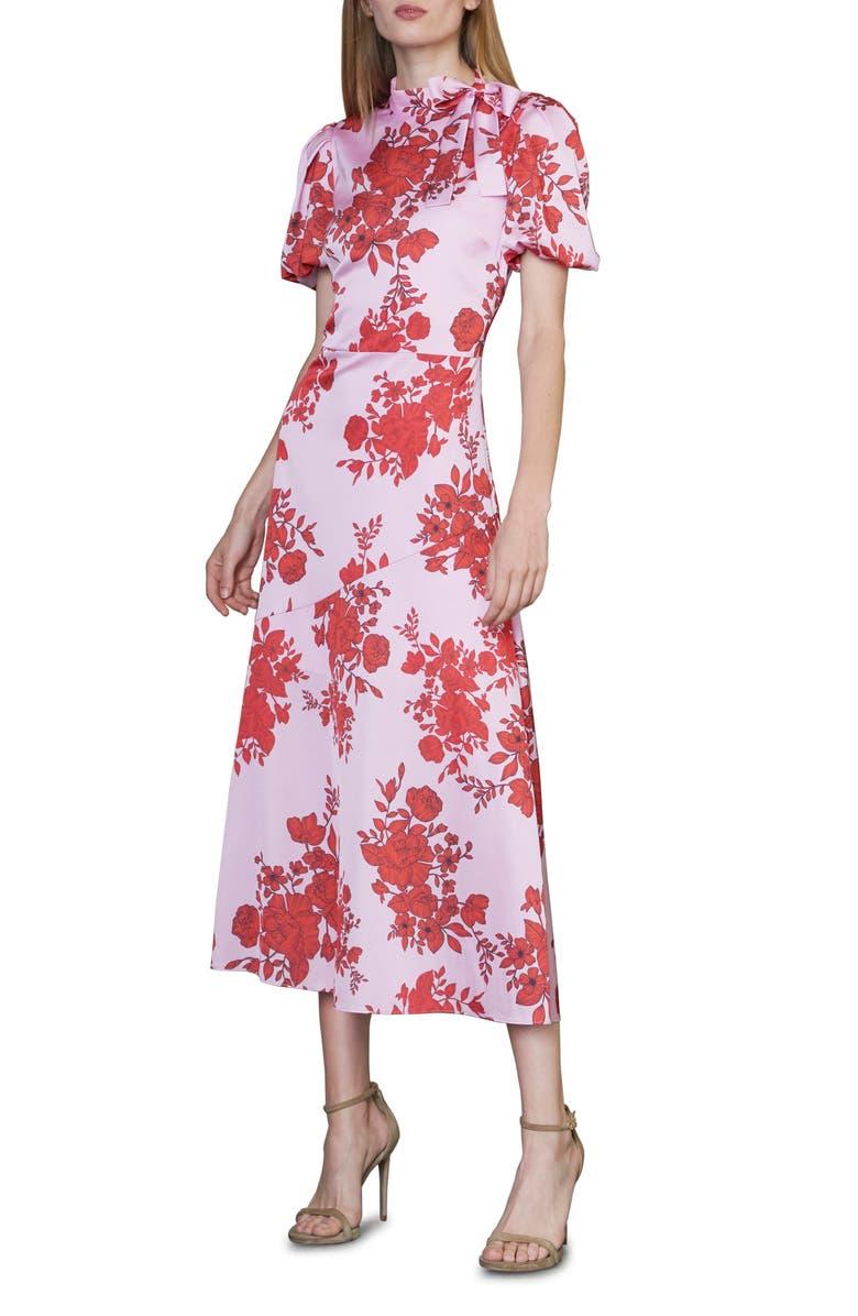ML MONIQUE LHUILLIER Floral Satin Dress, Main, color, LIPSTICK MULTI