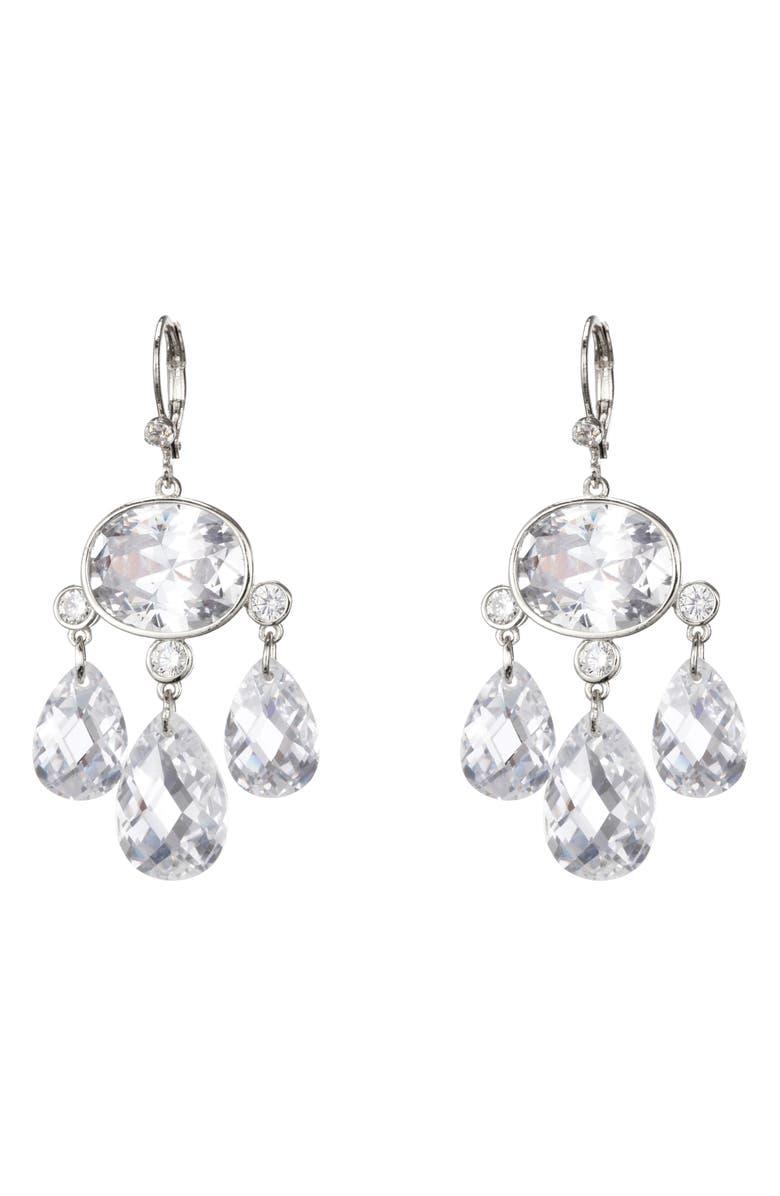 NINA Briolette Chandelier Earrings, Main, color, RHODIUM/ WHITE