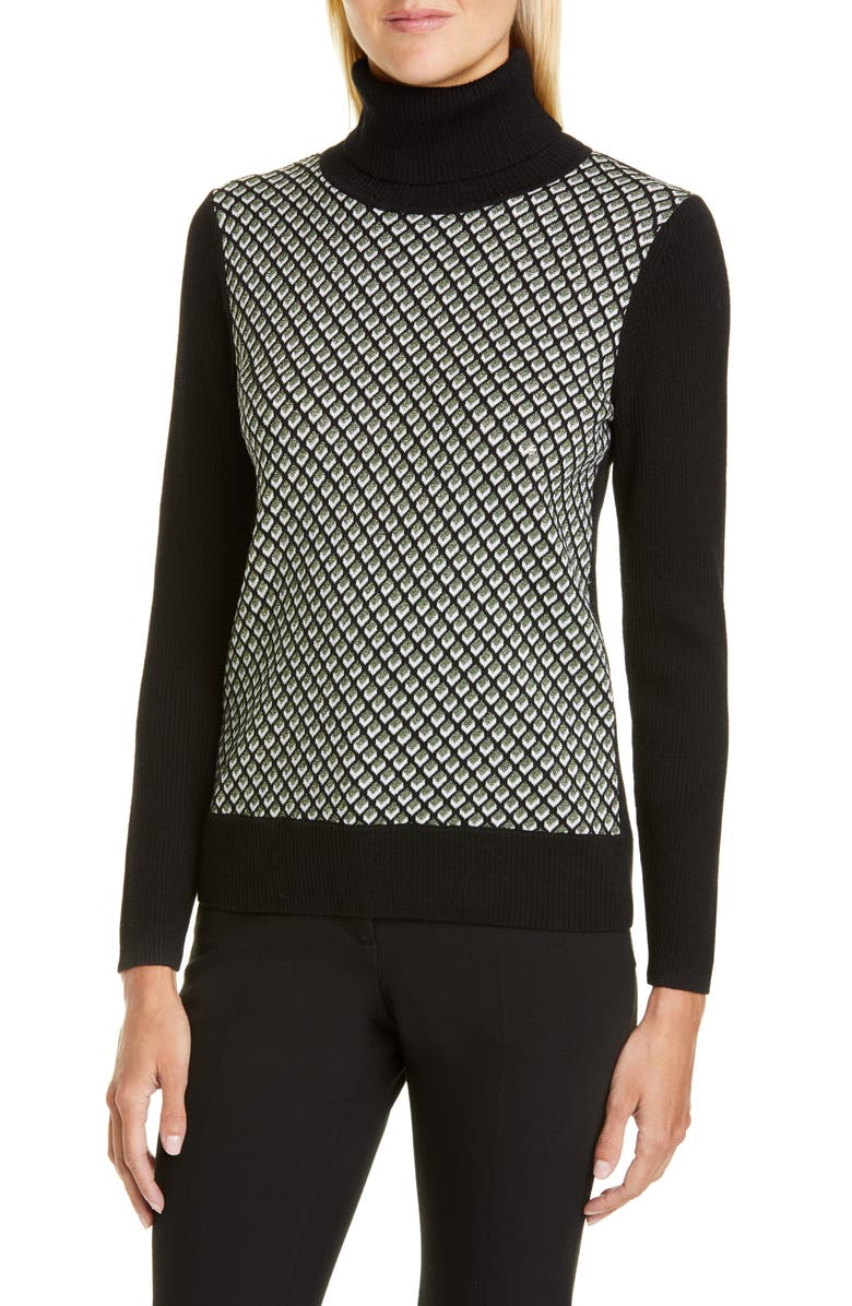 DVF Bronwen Geo Print Wool Blend Turtleneck Sweater, Main, color, BLACK MULTI