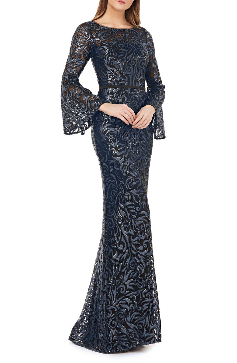 CARMEN MARC VALVO INFUSION Sequin Embroidered Trumpet Gown, Main, color, MIDNIGHT
