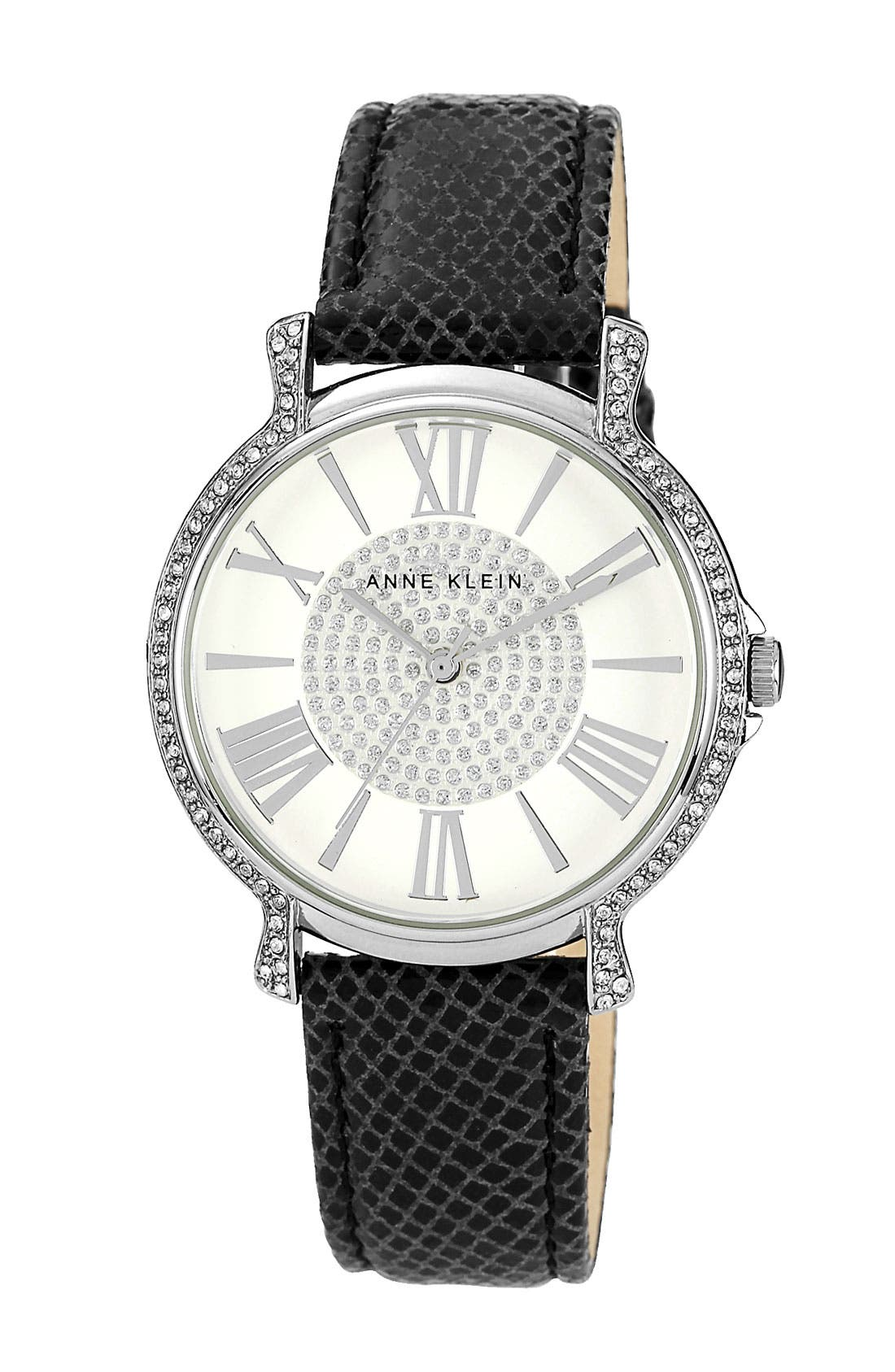 ,                             Round Leather Strap Watch,                             Main thumbnail 1, color,                             001