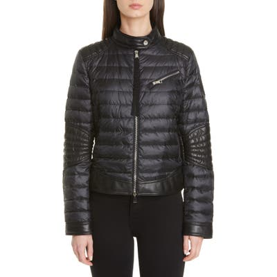 Moncler Leather Moto Detail Quilted Jacket, (fits like 2-4 US) - Black