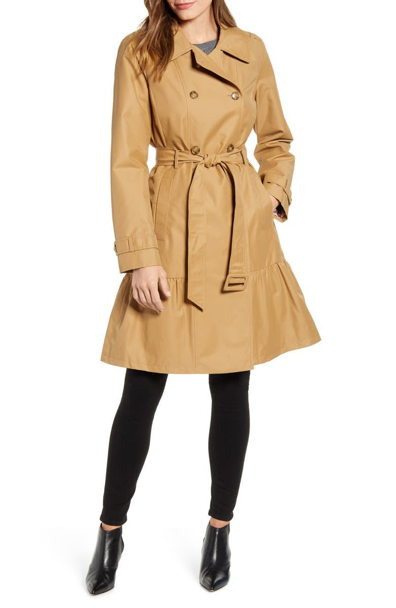 KATE SPADE NEW YORK belted trench coat, Main, color, 231