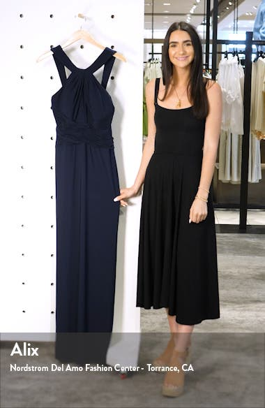 Shirred Halter Neck Gown, sales video thumbnail