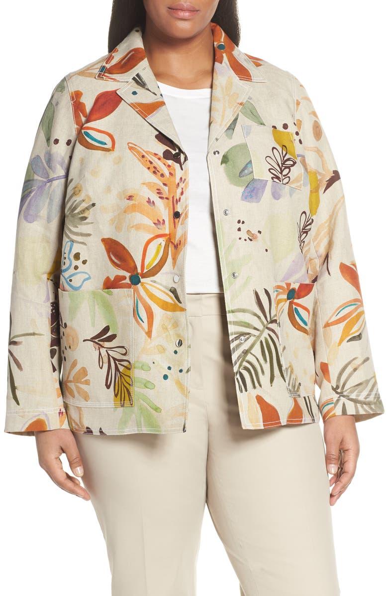 LAFAYETTE 148 NEW YORK Jolisa Floral Print Linen Jacket, Main, color, 250