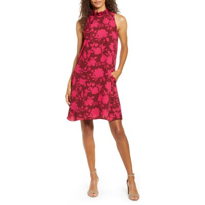Petite Gibson X Hi Sugarplum! Cavallo Ruffle Neck Date Dress, Burgundy