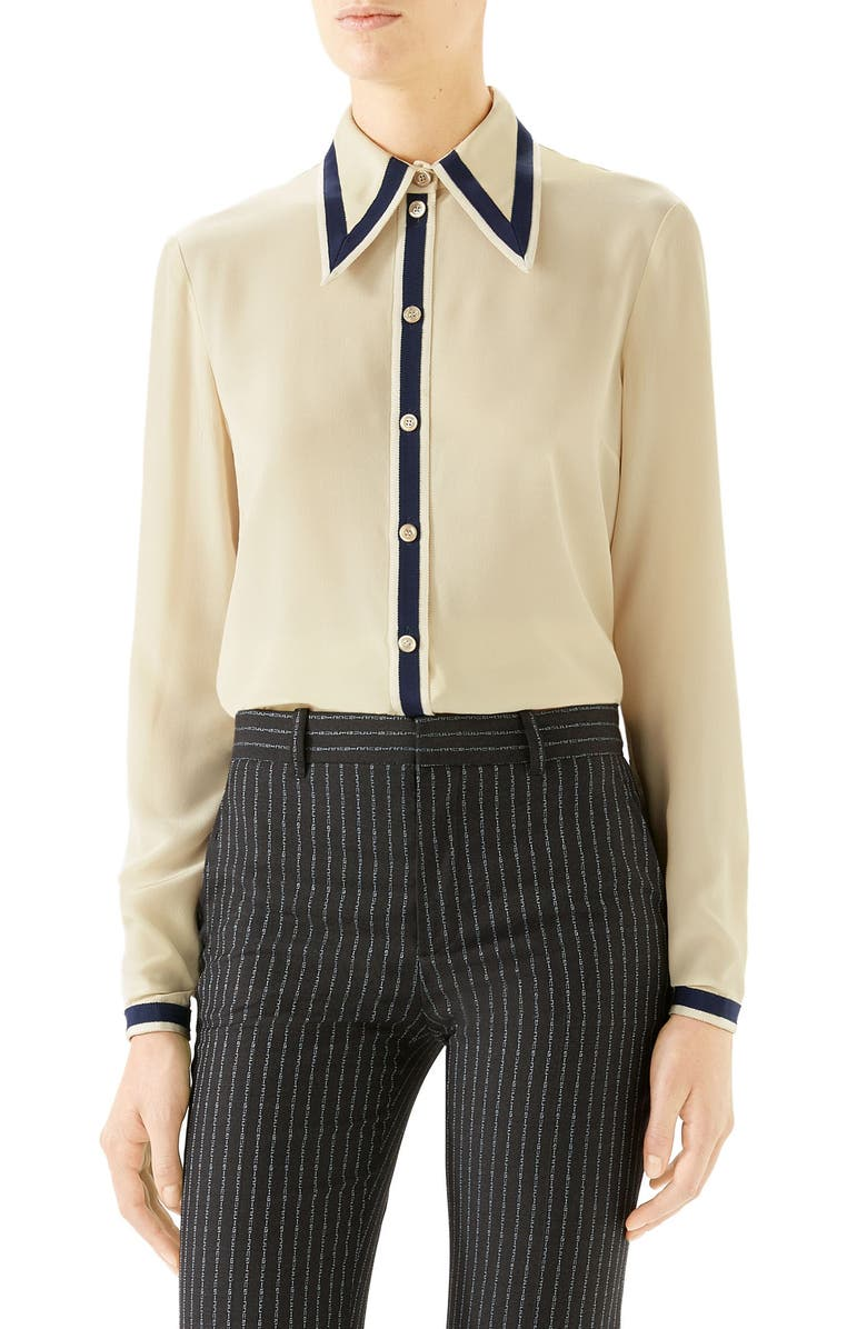 GUCCI Grosgrain Trim Silk Crêpe de Chine Shirt, Main, color, GARDENIA