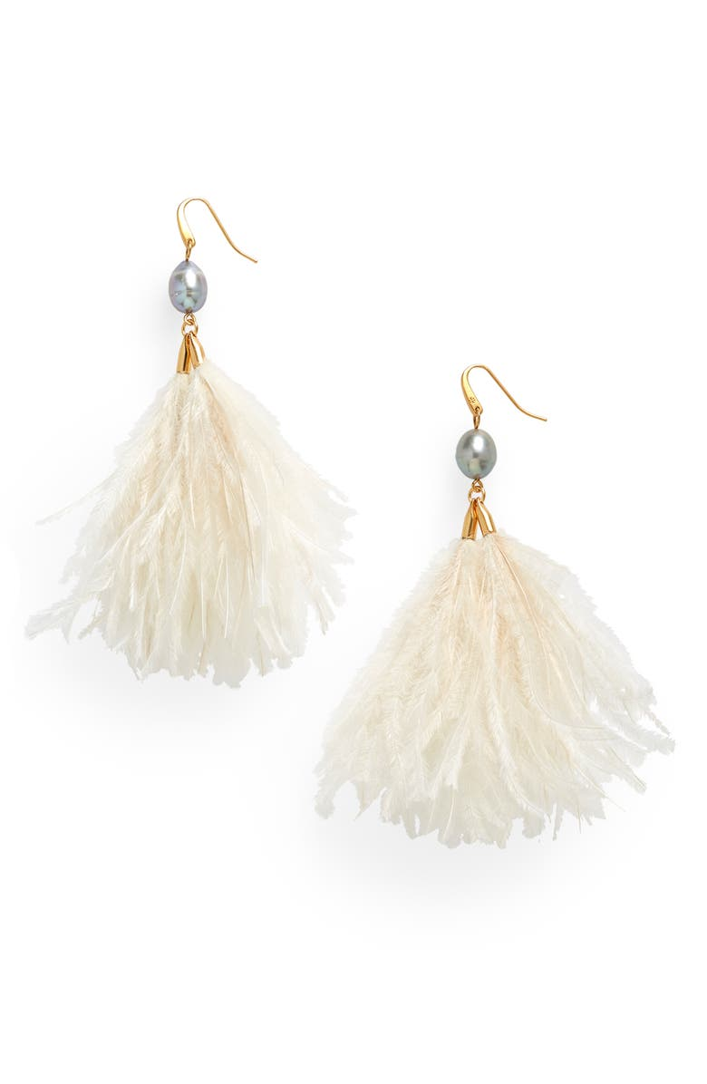 TORY BURCH Pearl & Feather Tassel Earrings, Main, color, ROLLED BRASS 59/ IVORY/GRAY