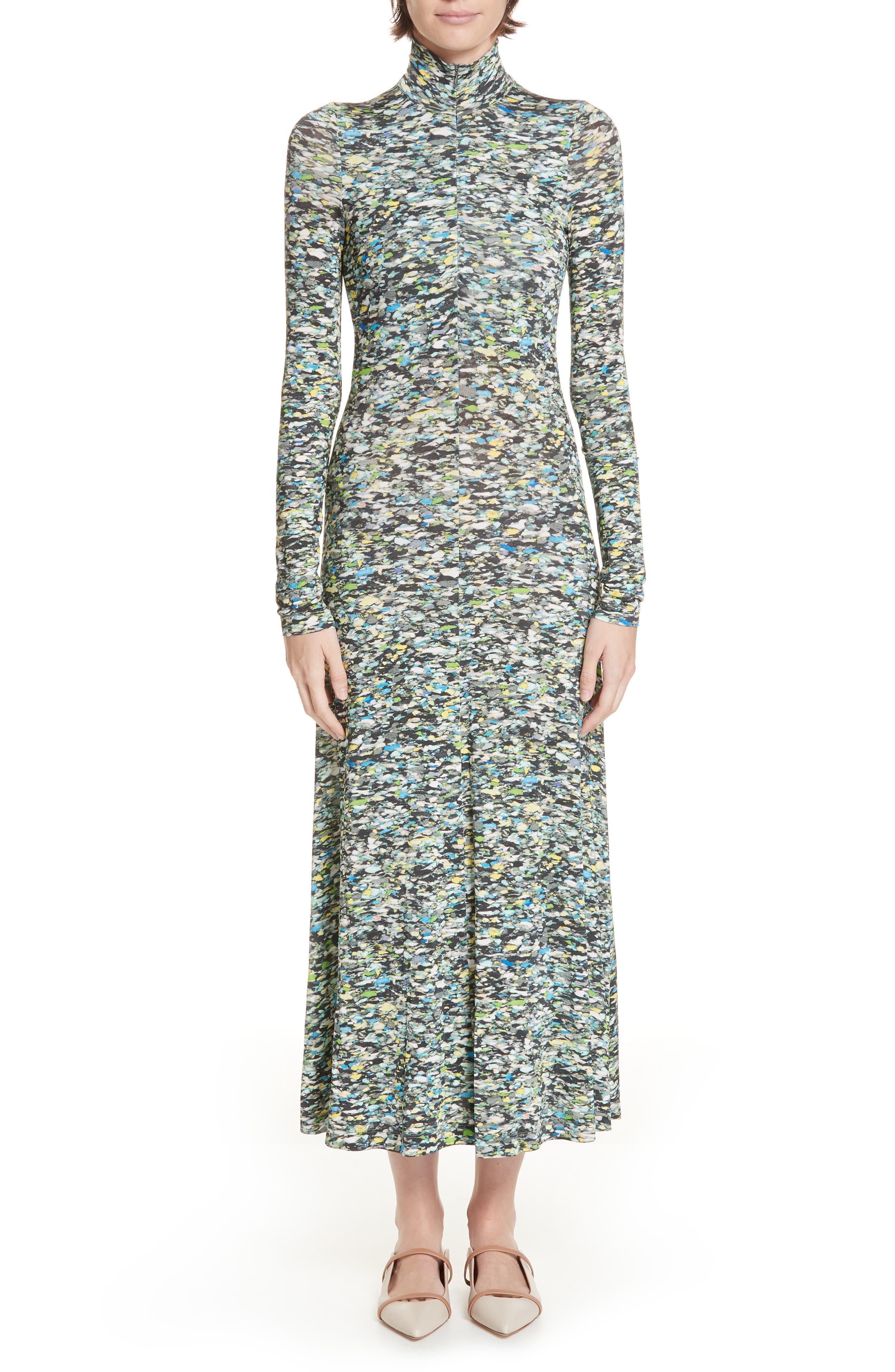 Rosetta Getty Foam Print Turtleneck Jersey Dress